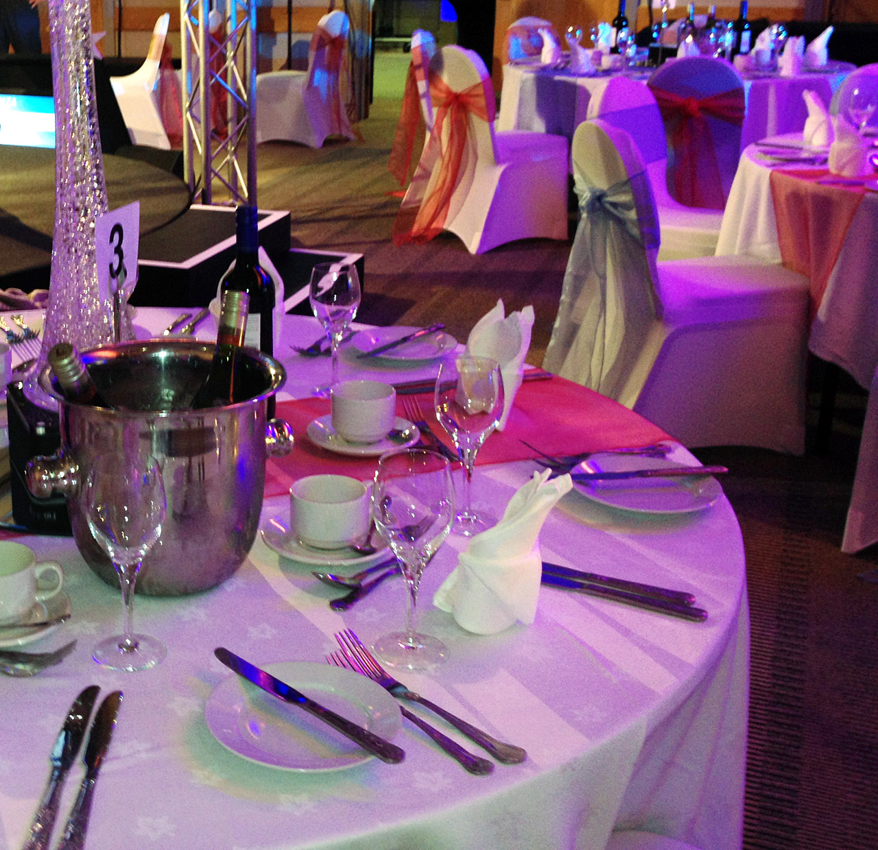 Stylish Seating Corporate Event Table Runners, Chair Covers and Sashes