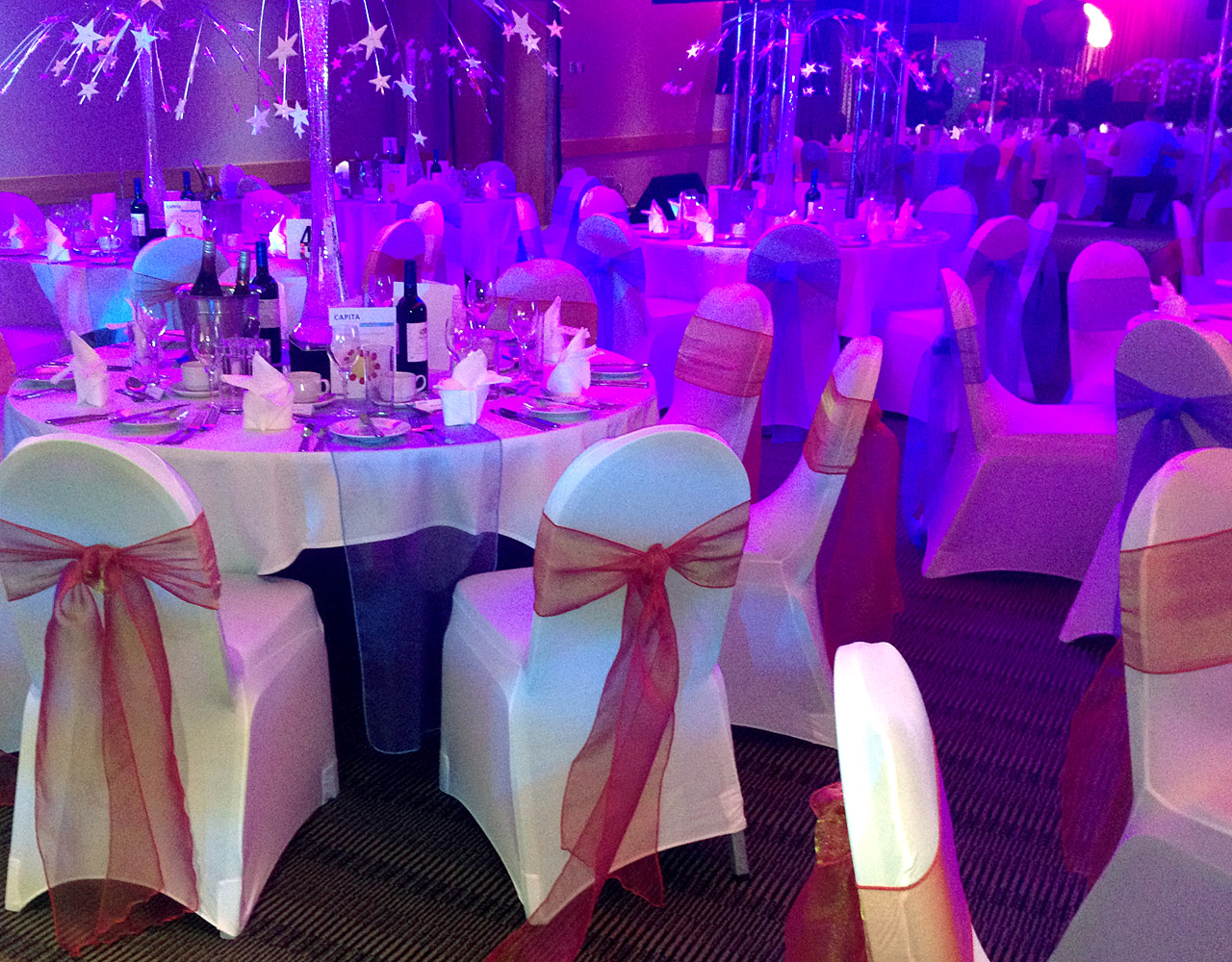 Stylish Seating Corporate Event Chair Covers and Sashes