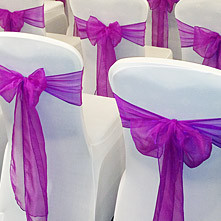 Delightfully elegant Sashes are available in a wide range of colours and fabrics to enhance your choice of Chair Cover.